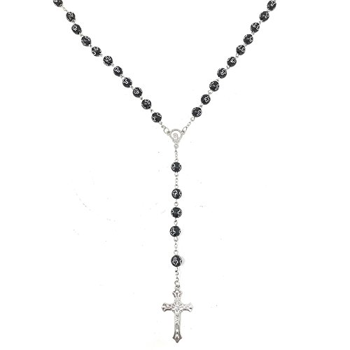 AOASK Catholic Prayer Rosary Jesus Cross Pendant Carved Rose Beads Necklace Virgin Mary Necklace (cross black silver)