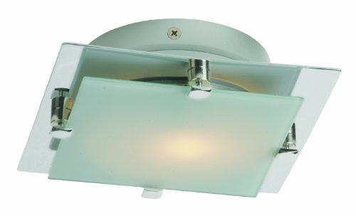 (ET2 E53832-09SN Piccolo LED 1-Light LED Flush/Wall Mount, Satin Nickel Finish, Frost White Glass, PCB LED Bulb, 60W Max., Dry Safety Rated, 2900K Color Temp., Standard Dimmable, Natural Fiber Shade)