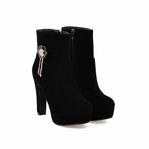 Charm Foot Mujeres Elegant Zipper Platfrom Botas Cortas De Tacón Alto Negro