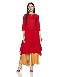 Leda Red Solid Indian Pakistani Kurtis Ethnic Kurti Women Dress