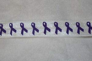 3.5 Yards Purple Ribbon Alzheimers Awareness Foldover Elastic Headband Hair Ties Florist, Flowers, Arts & Crafts Gift Wrapping