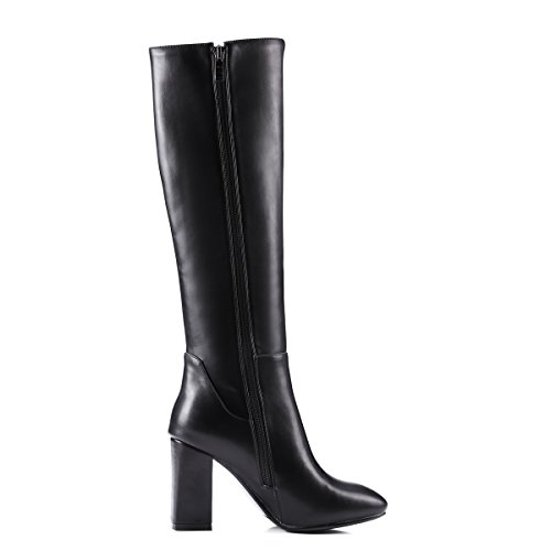 Womens Boots Warm Thick High Black Heels AIWEIYi Boots Snow Fur High Strappy Shoes Boots Knee g1wdqax