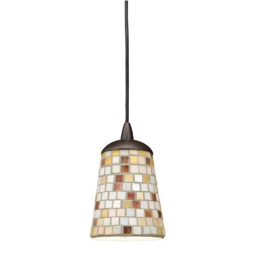 Kichler  65383 Blythe 1-Light Mini Pendant, Old Bronze Finish with Mosaic Glass Diffuser and White Diffuser