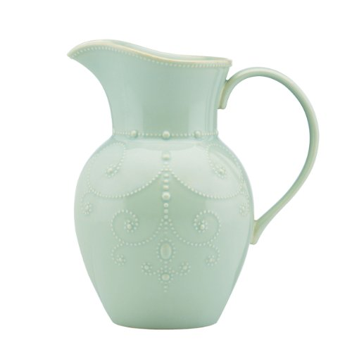 - Lenox French Perle Pitcher, Large, Ice Blue