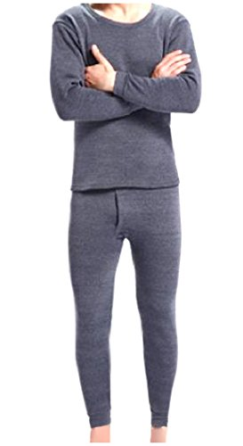 Zimaes-Men Mid Weight Double-Layer Soft Cotton Thermal Union Suit Dark Grey S