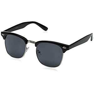 zeroUV Half Frame Semi-Rimless Horn Rimmed Sunglasses (Black-Silver / Smoke)