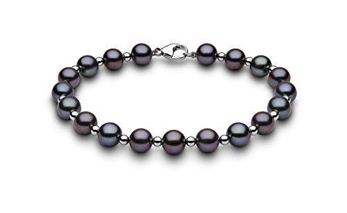 Kimura Pearls femme  9carats (375/1000)  Or blanc #Gold Rond Semi-circulaire Perle d'eau douce chinoise Noir Perle FINENECKLACEBRACELETANKLET