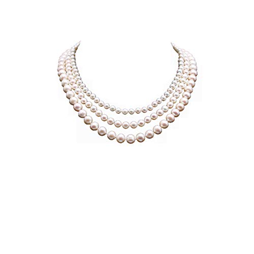 JYX Pearl Triple Strand Necklace AA+ Multi-Size Round White Freshwater Pearl Necklace ()