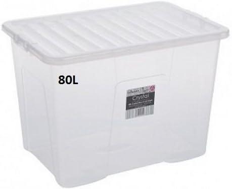 JMS® 5 x 80 litros Caja de Almacenamiento de plástico – X Large – Fuerte – Transparente Tapa: Amazon.es: Hogar