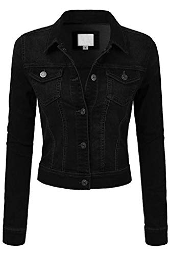 - FASHION BOOMY Womens Button Down Denim Jacket - Long Sleeve Classic Cropped Blue Jeans Outerwear - Regular and Plus Sizes Medium, Black_Denim