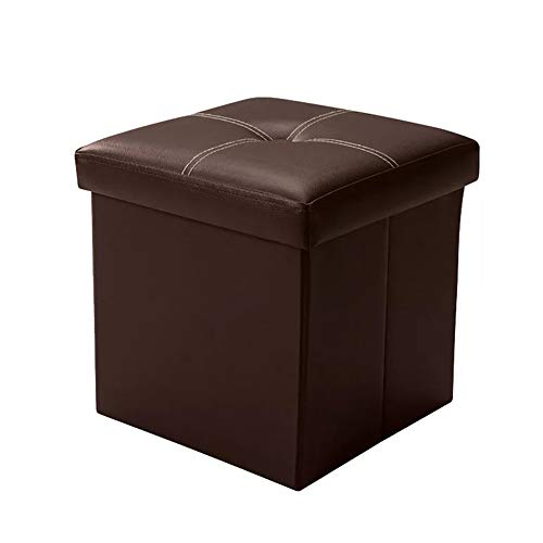 Tiemahun Organizer Folding Storage Ottoman Cube/Puppy Step/Footrest Stool/Toy Box Faux Leather Chest with Memory Foam Seat, Bench Seat Foot Rest Stool Coffee Table (Coffee)