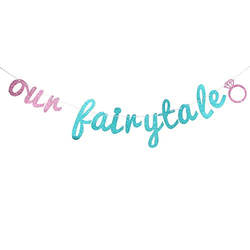 Glitter Our Fairytale Banner, Bridal Shower Wedding Banner, Wedding String Decorations, Rustic Wedding Decor, Wedding Engagement Sign Photo ()