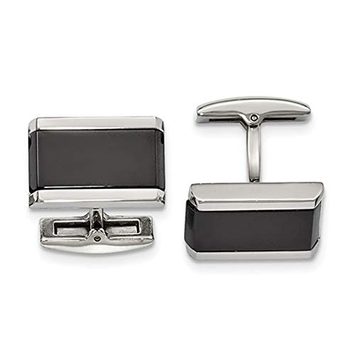 Brilliant Bijou Men's Stainless Steel Polished Black Onyx Rectangle Cuff Links