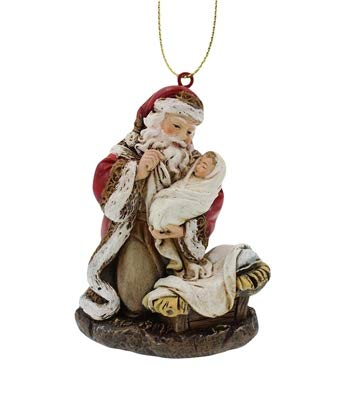 Adoring Santa 2 Inch Christmas Ornament Value 4-Pack