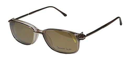 SmartClip 922 Mens/Womens Designer Full-rim Sunglass Lens Clip-Ons Spring Hinges Eyeglasses/Eyeglass Frame (52-17-140, Gold / Clear / - Logo Brown Gold Shield And