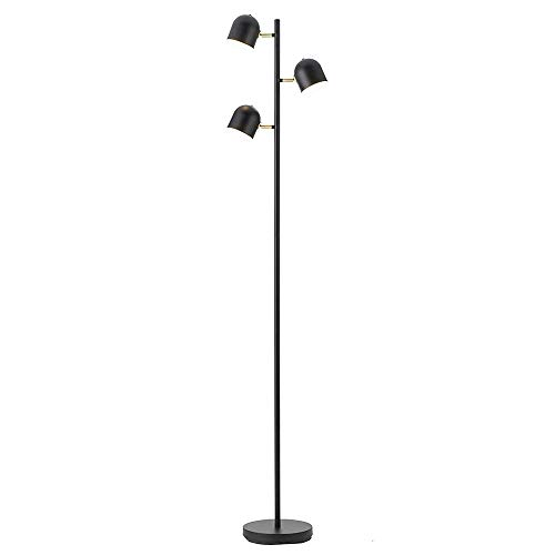 (FL-63459,Nordic Simple Floor Lamp Metal Body,Adjustable 3-Light Arc Iron Stand Task Light for Reading Study Studio Office,Black 66.3
