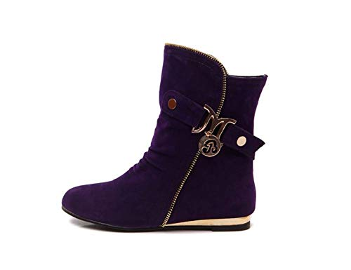 Basso Basso Purple Tacco Cuneo Boot Womens Moda Flat Faux Stivaletti Stivaletti Stivaletti DQZCG 42EU Ladies Scamosciata Pelle Moto 0HqZSf