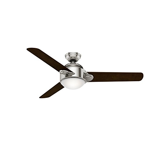 - Casablanca 59083 Trident 54-Inch Brushed Nickel Ceiling Fan with Three Espresso/Smoked Walnut Blades and a Light Kit