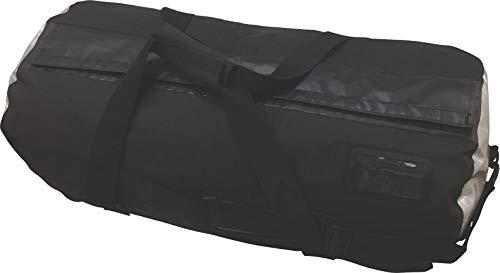 (Oversize 70L Waterproof Dry Duffel Offshore Gear Motor Cycle Tail Bag Hi-Vis 25 Gauge Vinyl Silver Welded Side Panels -Black)