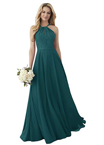 Women's Halter Lace Chiffon Bridal Party Gown with Keyhole Formal Prom Dresses Teal,10