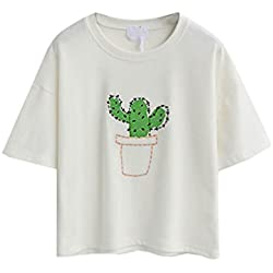PERSUN Womens Summer Cute White Cactus Embroidery Basic Short Sleeve T-shirt