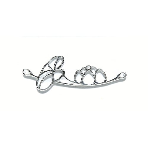 Amoracast Sterling Silver Link Water Lily 14x38mm, 14 x 38mm