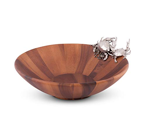 (Vagabond House Wood Salad Serving Bowl with Pewter Crab 16