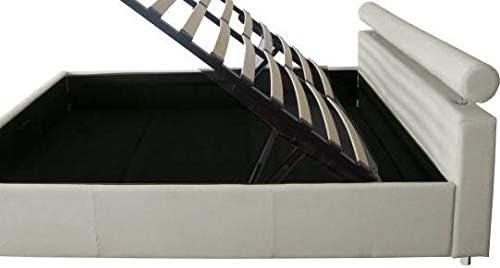JB11 Gstore Letto Matrimoniale Contenitore in Ecopelle Moderno Beige, Ecopelle