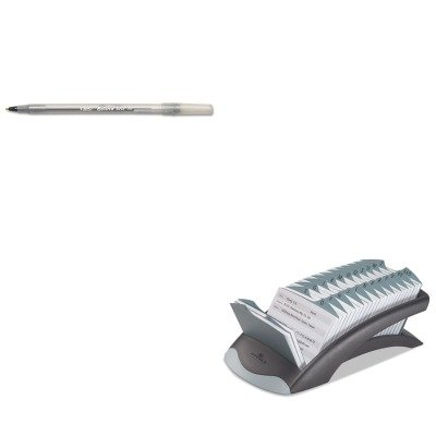 KITBICGSM11BKDBL241201 - Value Kit - Durable TELINDEX Desk Address Card File Holds 500 4 1/8 x 2 7/8 Cards (DBL241201) and BIC Round Stic Ballpoint Stick Pen (BICGSM11BK)