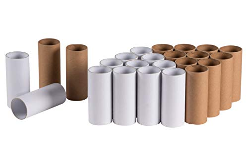 Craft Rolls - 24-Pack Cardboard Tubes, DIY Artrolls, Empty Toilet Paper Rolls, Craft Supplies for Classroom Projects, Kids Art and Craft, White and Brown, 1.625 x 1.625 x 3.9 -