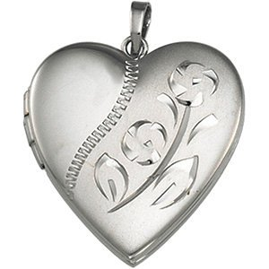 Sterling Silver Heart Locket with Etched Flower by The Men's Jewelry Store (for HER)