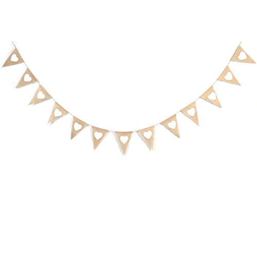 Vintage Heart Shape Printing Burlap Bunting Banner for Wedding Party Decoration,holiday Decoration ()
