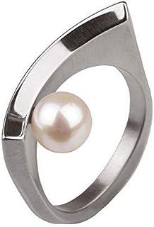 Ernstes Design R125 - Anello di perle da 7 mm, in acciaio INOX opaco, lucidato