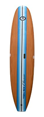 "California Board Company Keeper Sports Classic CBC Stand Up Paddle Board Set, 126"" x 31"" x 5.5"", Wood Grain Graphic with Blue Stripe"