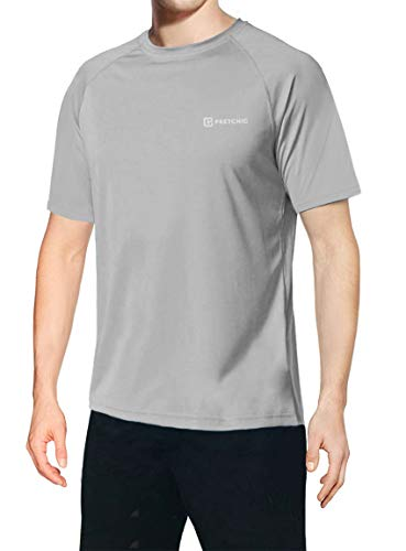 (Pretchic Men's UV Sun Protection UPF 50+ Performance Short Sleeve T Shirt Grey Large)