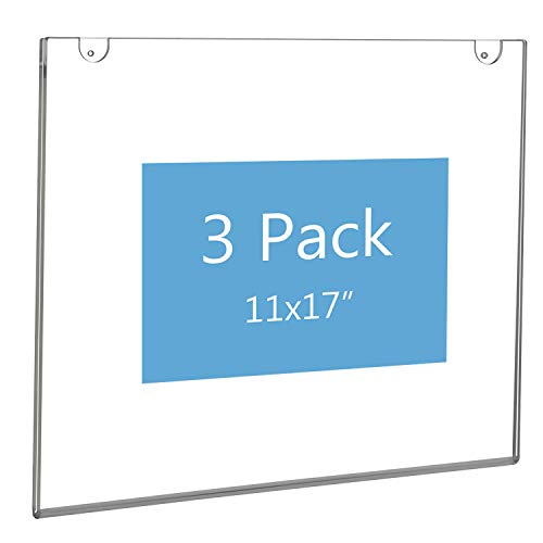 NIUBEE Acrylic Sign Holder 11x17 Horizontal,Clear Poster Picture Frames for Paper, Bonus with 3M Tape and Mounting Screws(3 ()