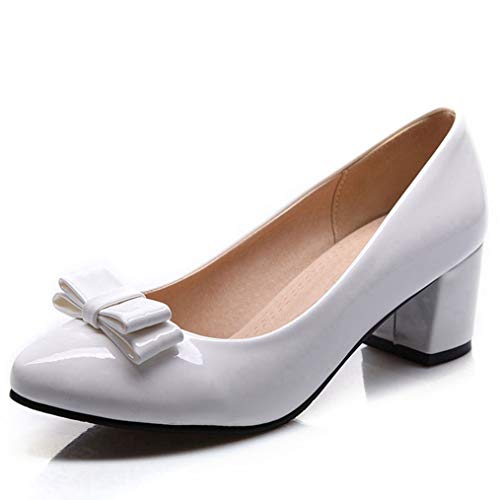 Sam Carle Women Pumps, Fashion Patent Leather Pointed Toe Bowtie High Heels Party Shoes