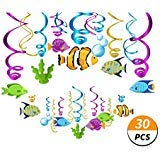 (Kristin Paradise 30Ct Tropical Fish Hanging Swirl Decorations, Under The Sea Party Supplies, Ocean Birthday Theme, Fishing Kids Decor for First 1st Boys Girls Baby Shower, Fishing Fisherman)