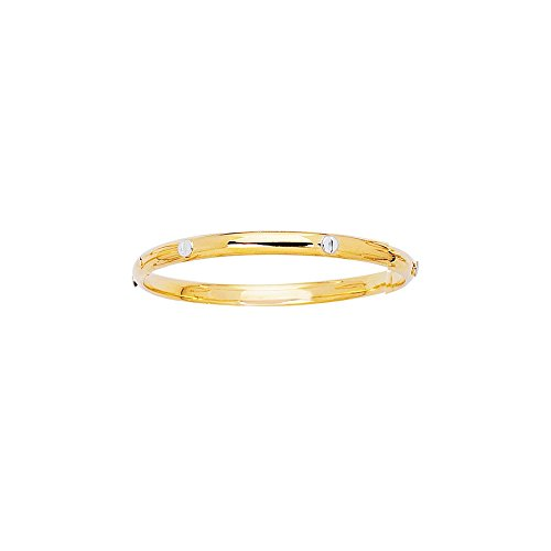 14k Yellow Gold 5.5 Inch Polish Rohdium Finish Screw Motif Girls Bangle Bracelet by Diamond Sphere