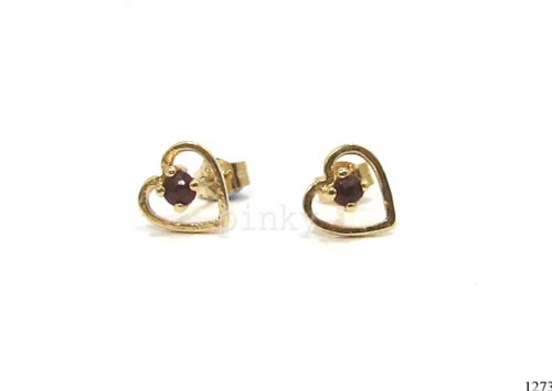 New 9CT Gold Open Heart & GARNET Stud Earrings (GS1273) GOLD EARRING / Gold Jewellry (MADE IN UK WITH HIGH QUALITY) -