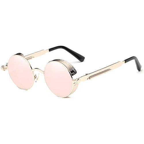 Dollger Round Mirrored Pink Sunglasses for Women Vintage Steampunk Style ()