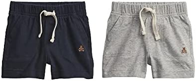 BabyGap Gap 2-Pack Mix and Match Pull-On Baby Shorts, Grey and Navy, 0-3 Months