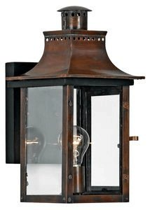 Aged Copper Outdoor Wall Light - Quoizel CM8408AC Chalmers Outdoor Lantern Wall Sconce, 1-Light, 100 Watts, Aged Copper (15