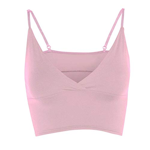 Womens Top Vest Girls Bra Sleeveless Ladies V Neck Wrap Over Crop Top Summer Fashion Women 2019 Under $10 Pink ()