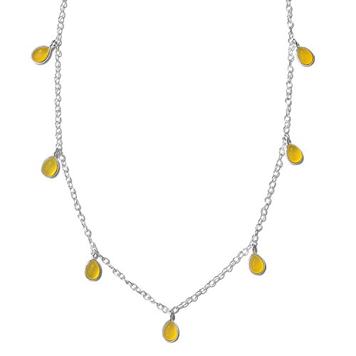 Enhanced Yellow Chalcedony 925 Sterling Silver Drop Charm Station Fashion Necklace For Women Size 18