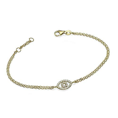 14k Yellow Gold Bracelet with Reversible Evil Eye Charm Amulet Studded with Diamonds on one side and Dazzling Red Rubies on the other