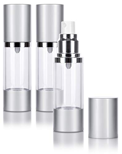 Airless Spray Bottle Silver Matte - 1 oz / 30 ml (3 PACK) Home or Travel, keeps out bacteria and air changing oxidation from your skin care products - durable, leak proof, and shatterproof