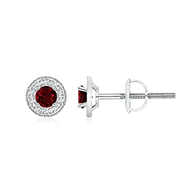 Angara Diamond Halo and Ruby Margarita Stud Earrings in Platinum hpy6H8gwx9