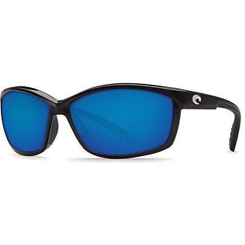 Costa Del Mar Manta 580P Manta, Shiny Black Blue Mirror, Blue Mirror