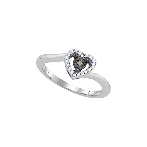 Sterling Silver Womens Round Cognac-brown Colored Diamond Heart Ring 1/10 Cttw by JAWAFASHION